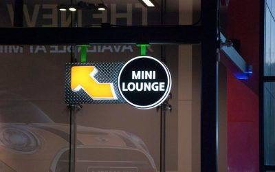 Mini Lounge signage at a corporate activation