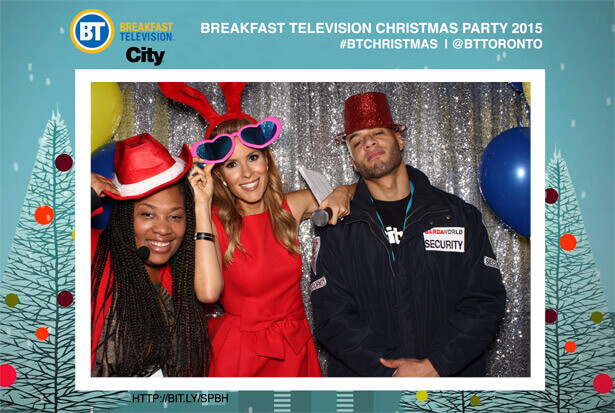 On air personalities in the Christmas Photo Booth