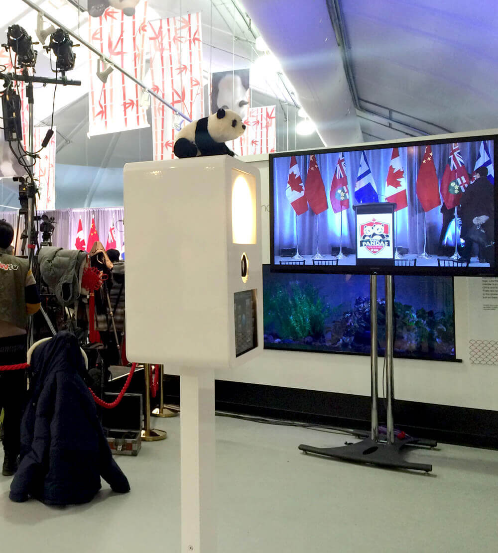 A photo booth set up at the Toronto Zoo for the naming of the Pandas