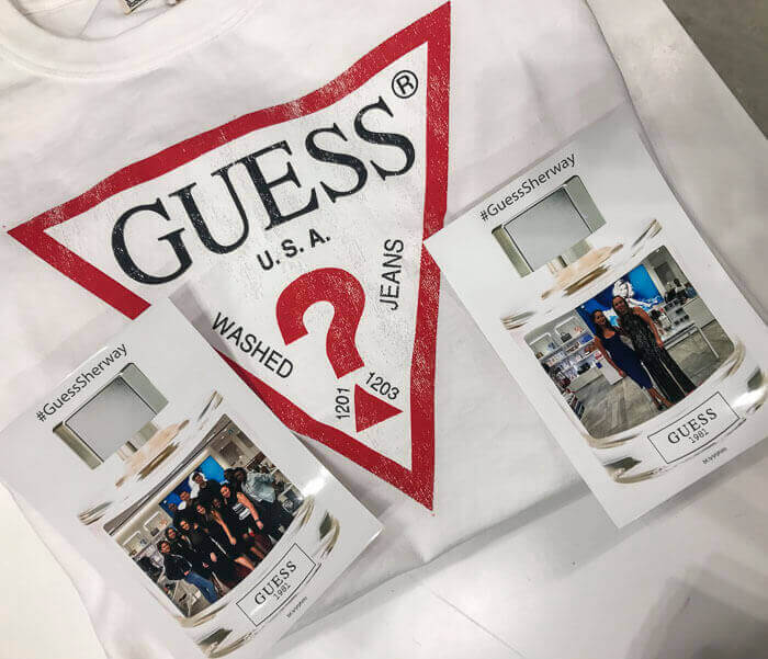 guess jeans t-shirt and hashtag print photos