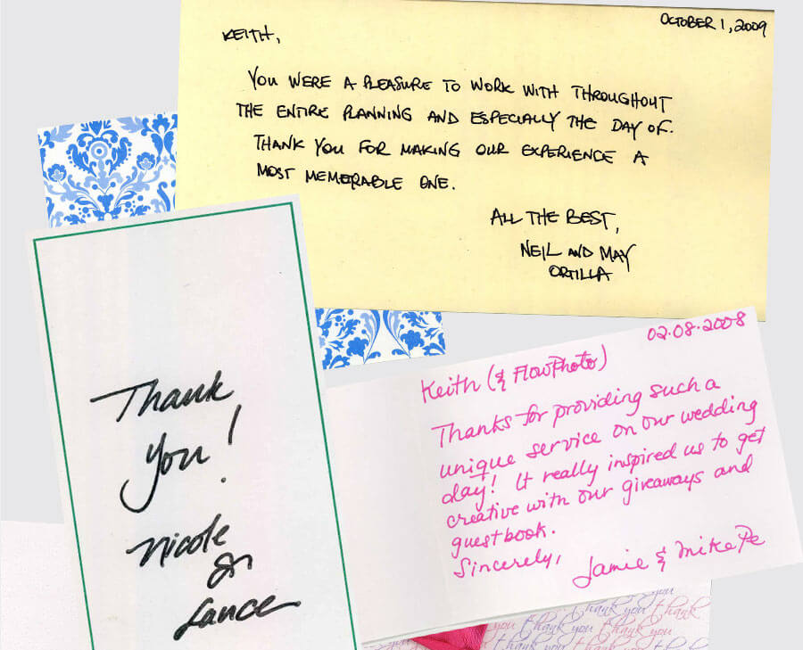 Hand written testimonial letters for a photo booth service