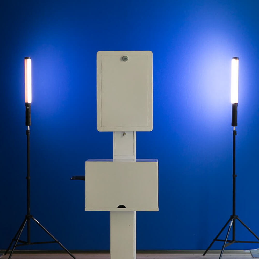 Studio photo of a blue screen photo booth set up
