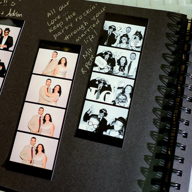 Wedding guest album created in the photo booth