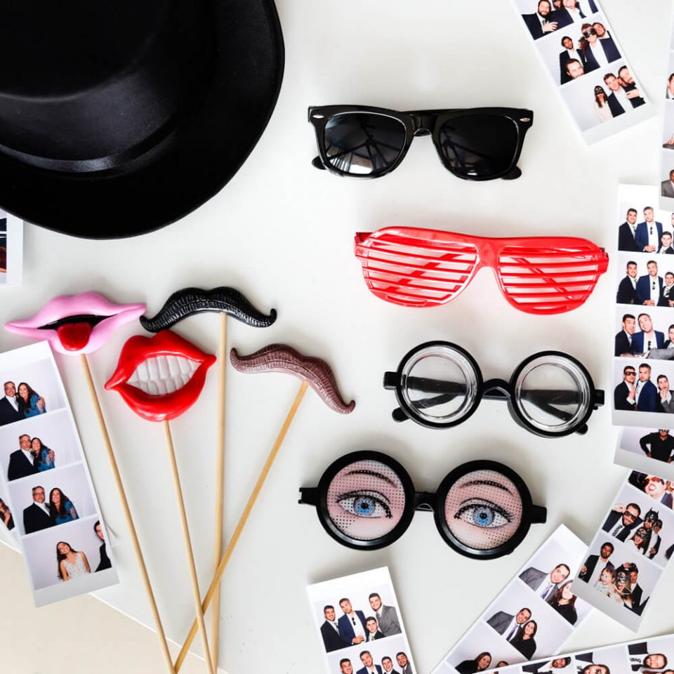 Moustaches,hats, and glasses - props for your wedding photo booth