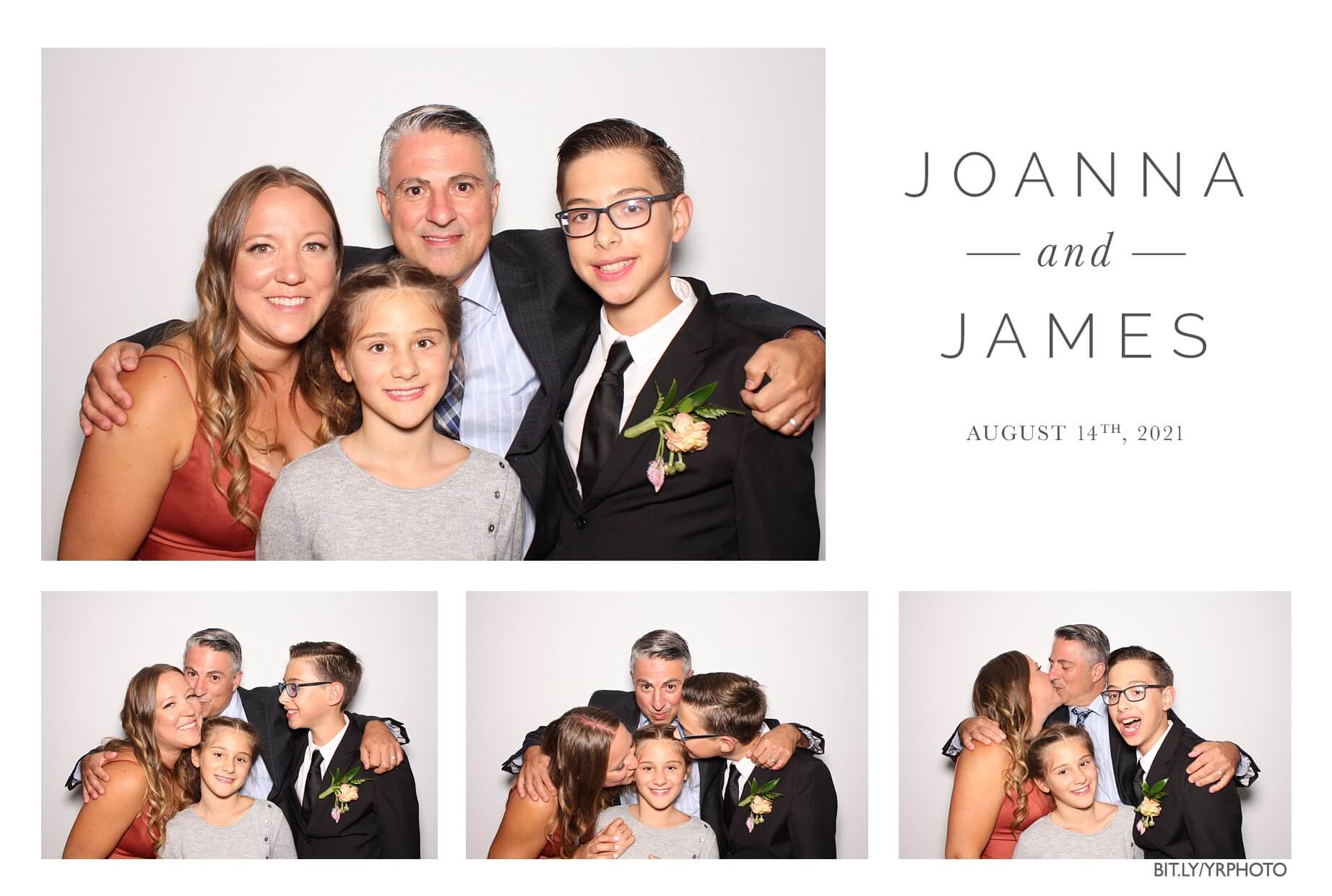a cute family posing in the toronto photo booth