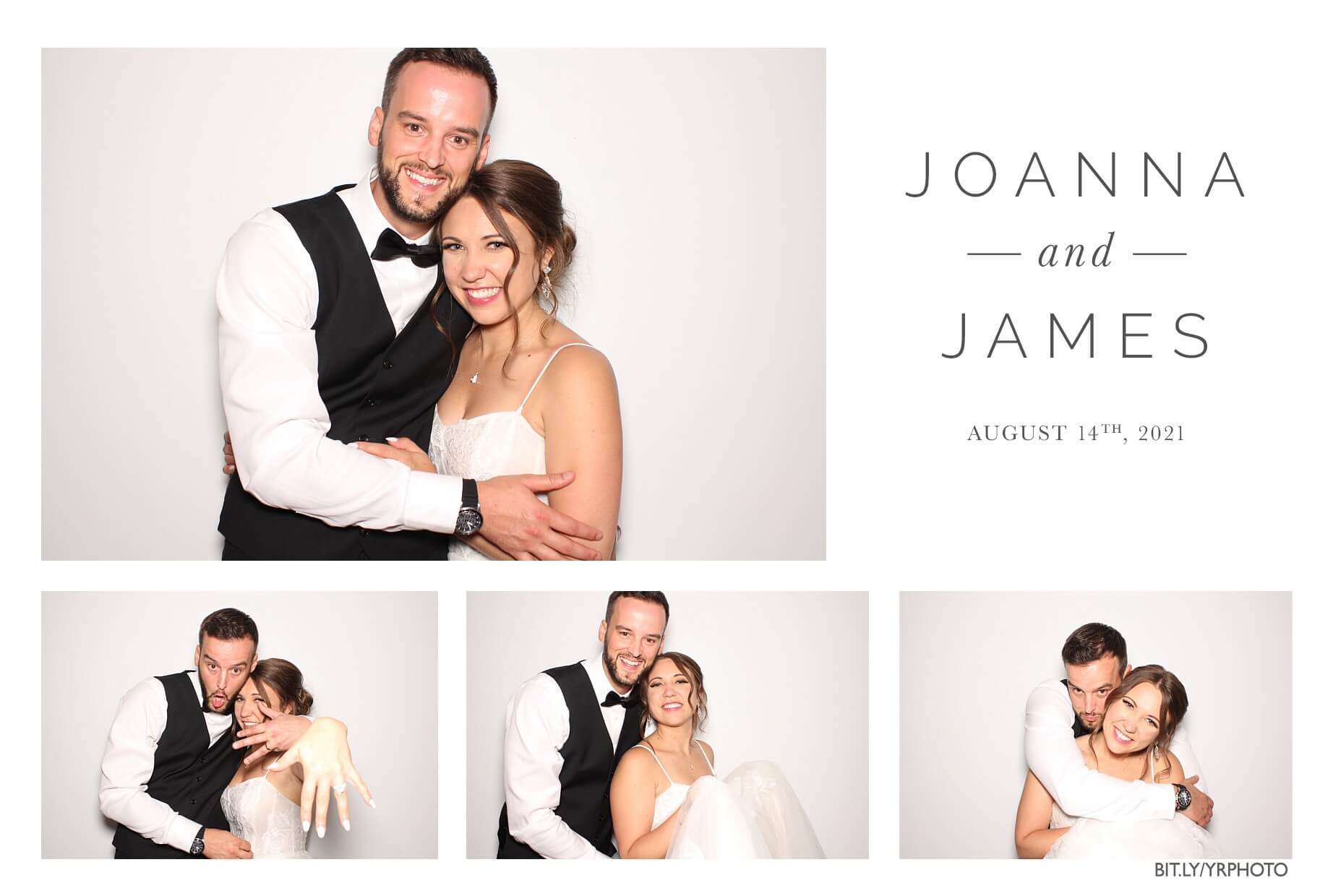 bridal couple in the photo booth