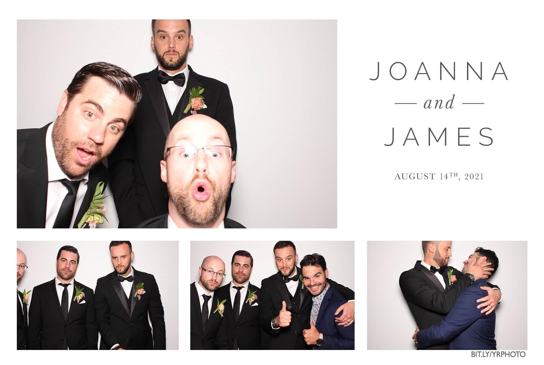 groomsmen in the photobooth